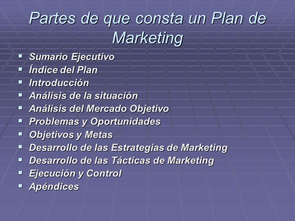 Partes de que consta un Plan de Marketing Sumario Ejecutivo Sumario Ejecutivo Índice del Plan Índice del Plan Introducción Introducción Análisis de la