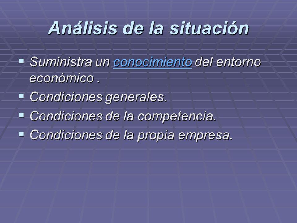 Análisis de la situación Suministra un conocimiento del entorno económico. Suministra un conocimiento del entorno económico.conocimiento Condiciones g