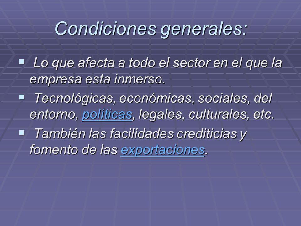 Condiciones generales: Lo que afecta a todo el sector en el que la empresa esta inmerso. Lo que afecta a todo el sector en el que la empresa esta inme