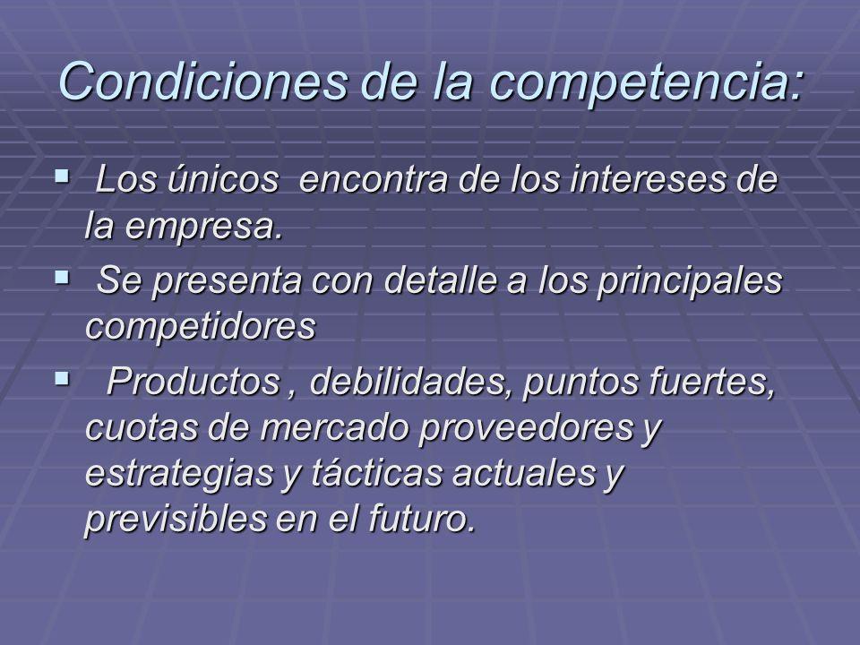 Condiciones de la propia empresa Como para los competidores, describe los productos actuales, experiencia.