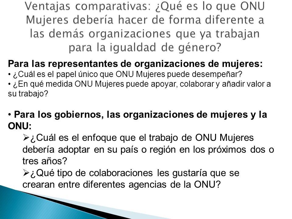 Para las representantes de organizaciones de mujeres: ¿Cuál es el papel único que ONU Mujeres puede desempeñar? ¿En qué medida ONU Mujeres puede apoya