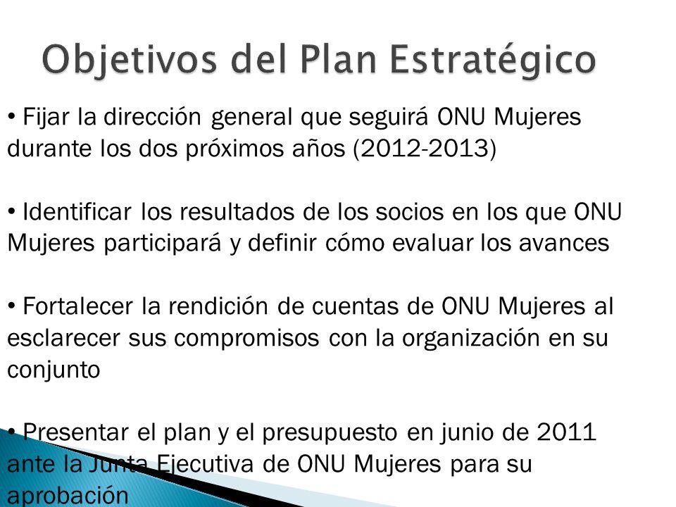 Fijar la dirección general que seguirá ONU Mujeres durante los dos próximos años (2012-2013) Identificar los resultados de los socios en los que ONU M