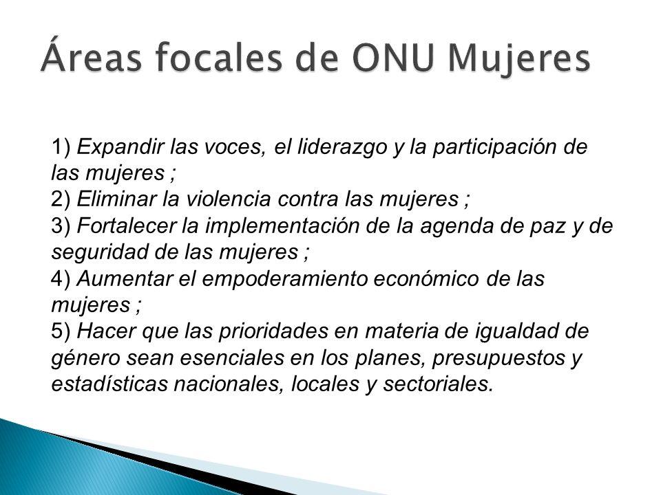 1) Expandir las voces, el liderazgo y la participación de las mujeres ; 2) Eliminar la violencia contra las mujeres ; 3) Fortalecer la implementación