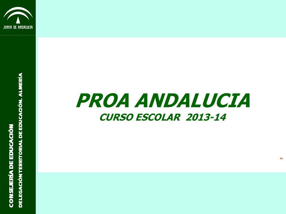 CONSEJERÍA DE EDUCACIÓN DELEGACIÓN TERRITORIAL DE EDUCACIÓN. ALMERÍA PROA ANDALUCIA CURSO ESCOLAR 2013-14
