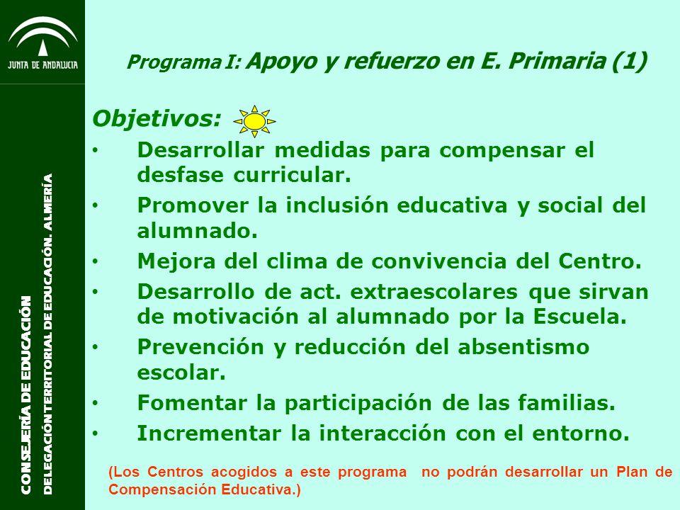 CONSEJERÍA DE EDUCACIÓN DELEGACIÓN TERRITORIAL DE EDUCACIÓN. ALMERÍA Programa I: Apoyo y refuerzo en E. Primaria (1) Objetivos: Desarrollar medidas pa