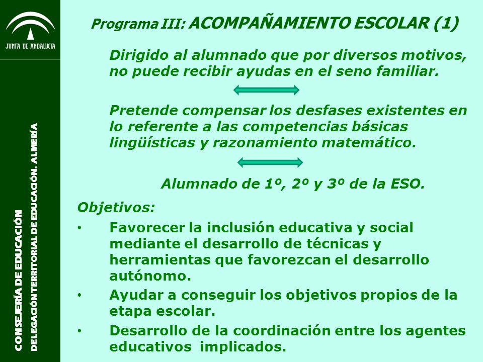 CONSEJERÍA DE EDUCACIÓN DELEGACIÓN TERRITORIAL DE EDUCACIÓN. ALMERÍA Programa III: ACOMPAÑAMIENTO ESCOLAR (1) Dirigido al alumnado que por diversos mo