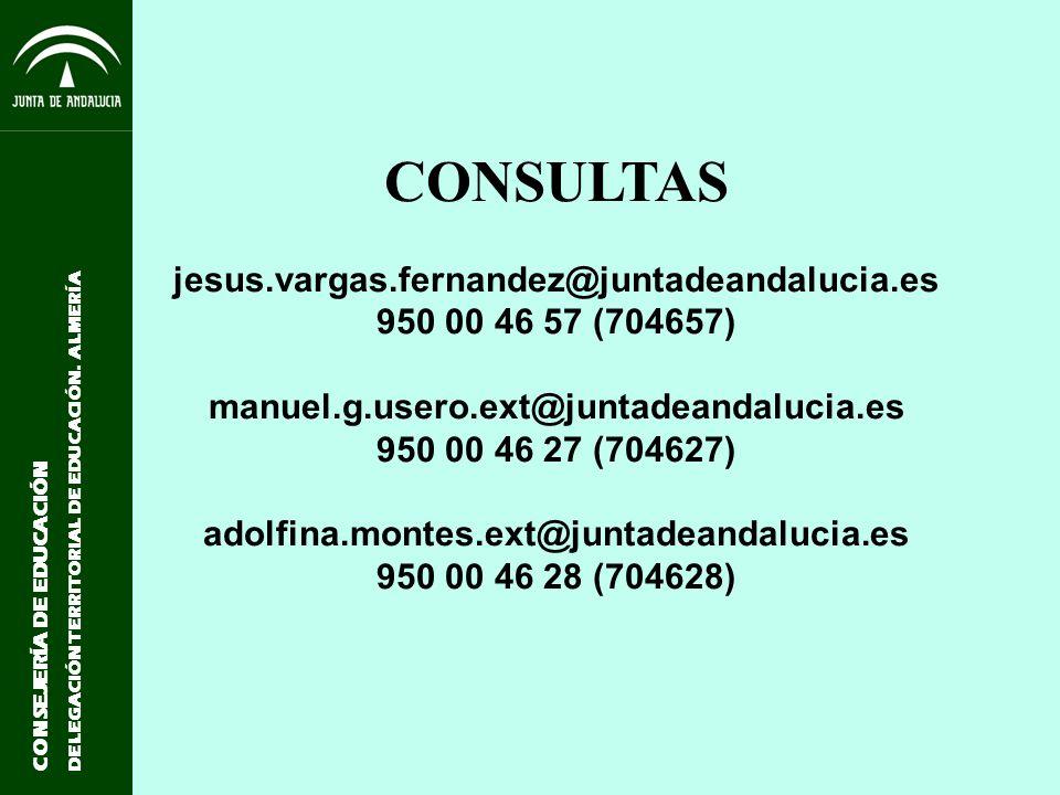CONSEJERÍA DE EDUCACIÓN DELEGACIÓN TERRITORIAL DE EDUCACIÓN. ALMERÍA CONSULTAS jesus.vargas.fernandez@juntadeandalucia.es 950 00 46 57 (704657) manuel
