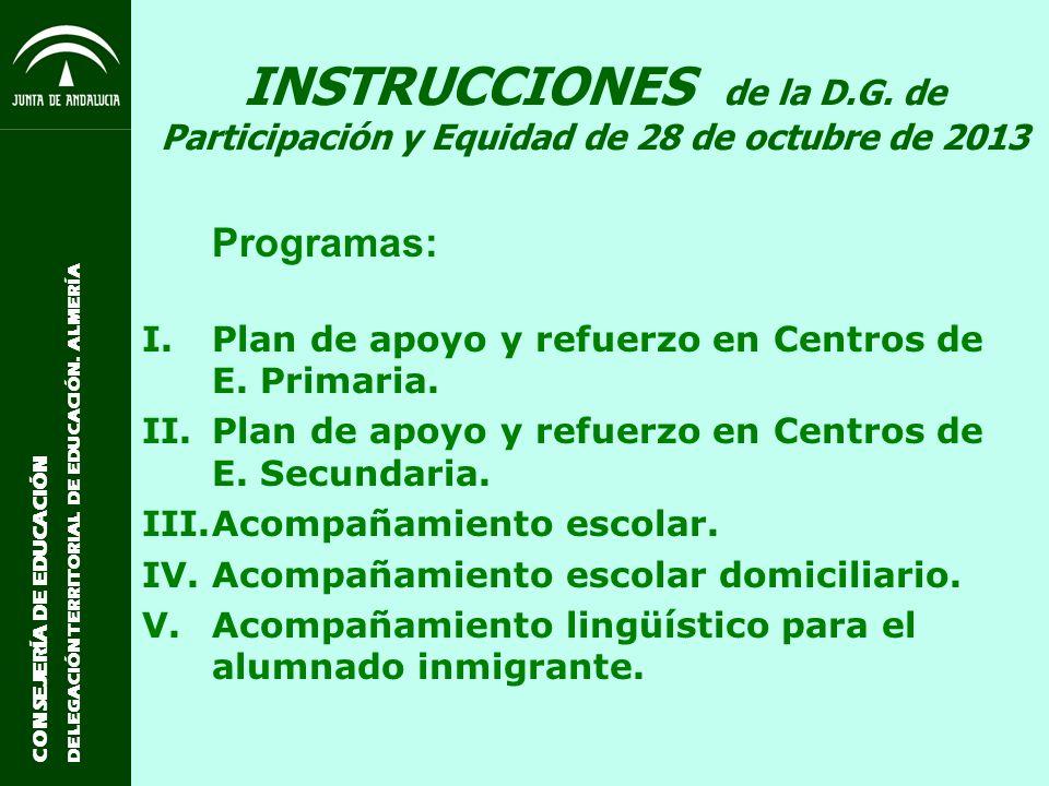 CONSEJERÍA DE EDUCACIÓN DELEGACIÓN TERRITORIAL DE EDUCACIÓN. ALMERÍA INSTRUCCIONES de la D.G. de Participación y Equidad de 28 de octubre de 2013 Prog