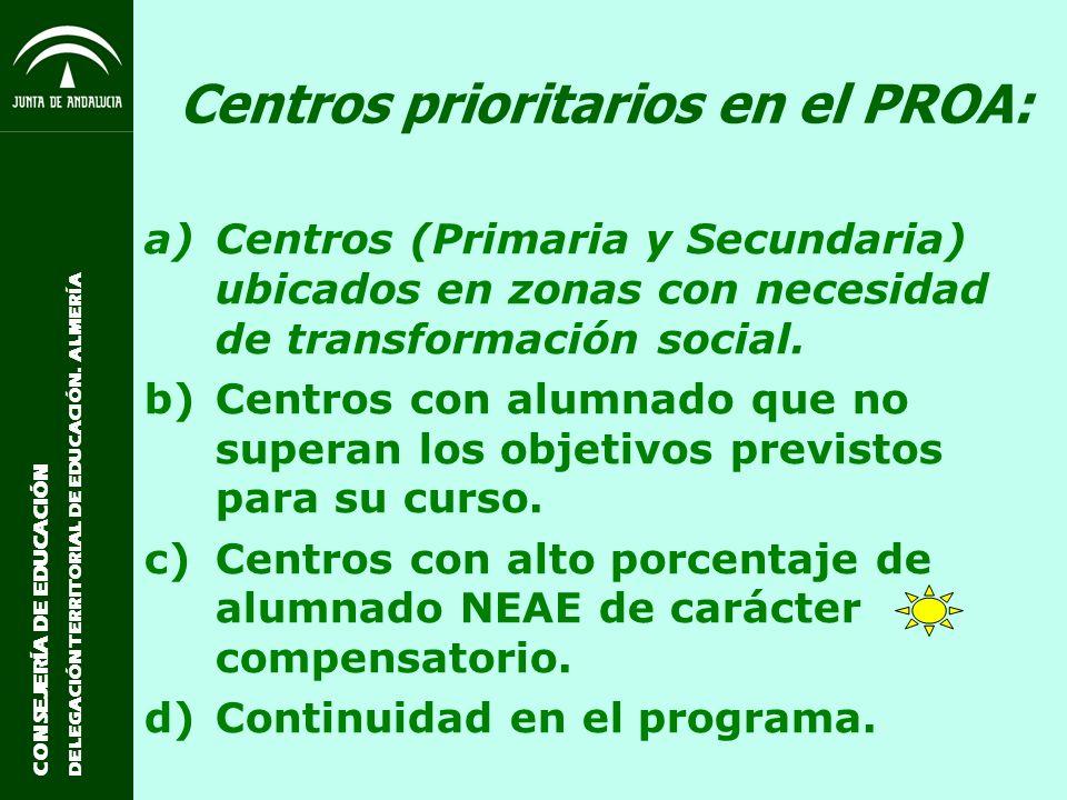 CONSEJERÍA DE EDUCACIÓN DELEGACIÓN TERRITORIAL DE EDUCACIÓN. ALMERÍA Centros prioritarios en el PROA: a)Centros (Primaria y Secundaria) ubicados en zo