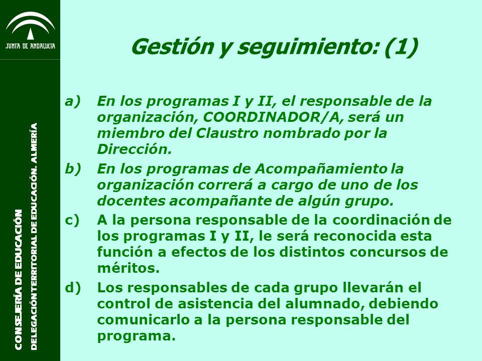 CONSEJERÍA DE EDUCACIÓN DELEGACIÓN TERRITORIAL DE EDUCACIÓN. ALMERÍA Gestión y seguimiento: (1) a)En los programas I y II, el responsable de la organi