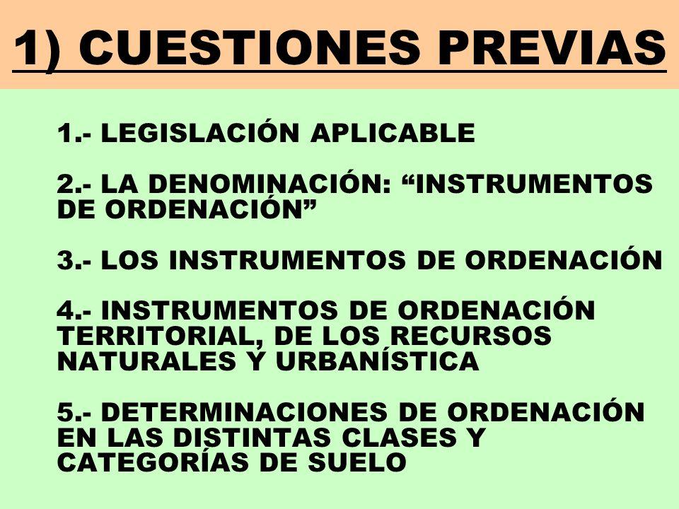 INSTRUMENTOS DE ORDENACIÓN URBANÍSTICA NOTAS PREVIAS: LOS GRUPOS DE INSTRUMENTOS DE ORDENACIÓN VAN EN COLOR AZUL LOS INSTRUMENTOS DE ORDENACIÓN VAN EN COLOR NEGRO LOS INSTRUMENTOS DE ORDENACIÓN SUBRAYADOS SON LOS DE USO MÁS FRECUENTE CUESTIONES PREVIAS 3) INSTRUMENTOS DE ORDENACIÓN