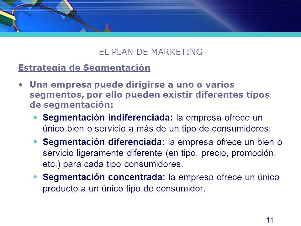 11 EL PLAN DE MARKETING Estrategia de Segmentación Una empresa puede dirigirse a uno o varios segmentos, por ello pueden existir diferentes tipos de s