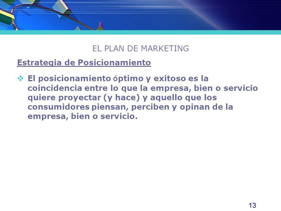 13 EL PLAN DE MARKETING Estrategia de Posicionamiento El posicionamiento ó ptimo y exitoso es la coincidencia entre lo que la empresa, bien o servicio