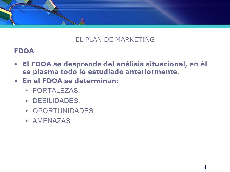 4 EL PLAN DE MARKETING FDOA El FDOA se desprende del análisis situacional, en él se plasma todo lo estudiado anteriormente. En el FDOA se determinan: