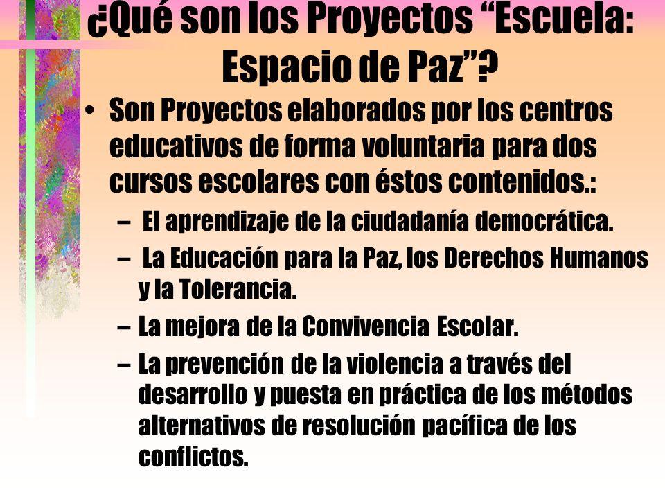 ¿Qué son los Proyectos Escuela: Espacio de Paz? Son Proyectos elaborados por los centros educativos de forma voluntaria para dos cursos escolares con