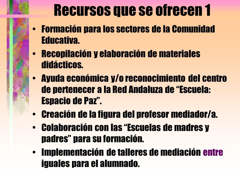 Recursos que se ofrecen 1 Formación para los sectores de la Comunidad Educativa. Recopilación y elaboración de materiales didácticos. Ayuda económica