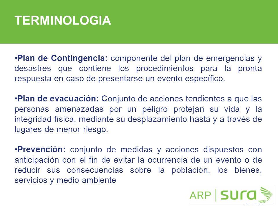 ARP SURA Plan de Contingencia: componente del plan de emergencias y desastres que contiene los procedimientos para la pronta respuesta en caso de presentarse un evento específico.