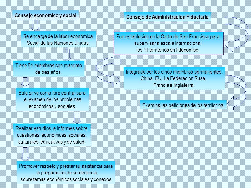 Consejo económico y social Se encarga de la labor económica Social de las Naciones Unidas. Tiene 54 miembros con mandato de tres años. Este sirve como