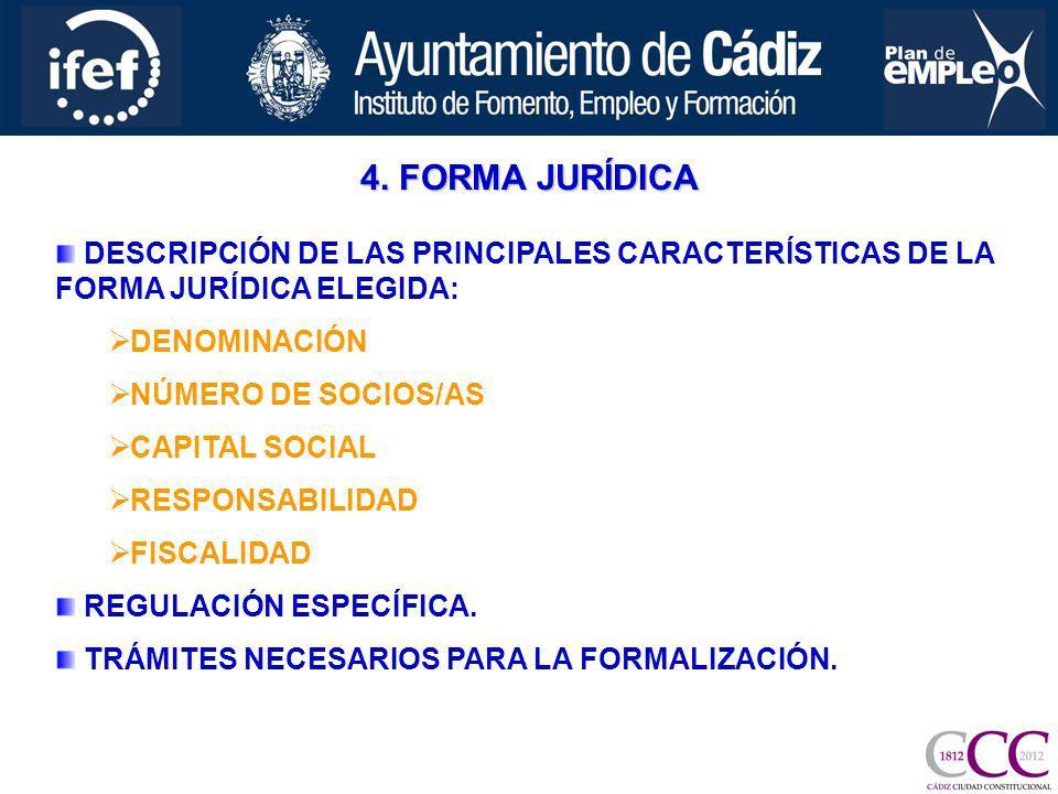 4. FORMA JURÍDICA DESCRIPCIÓN DE LAS PRINCIPALES CARACTERÍSTICAS DE LA FORMA JURÍDICA ELEGIDA: DENOMINACIÓN NÚMERO DE SOCIOS/AS CAPITAL SOCIAL RESPONS