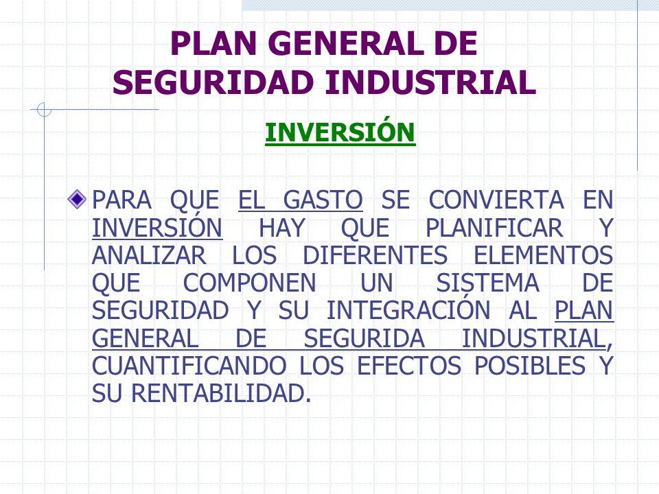 PLAN GENERAL DE SEGURIDAD INDUSTRIAL INVERSIÓN PARA QUE EL GASTO SE CONVIERTA EN INVERSIÓN HAY QUE PLANIFICAR Y ANALIZAR LOS DIFERENTES ELEMENTOS QUE
