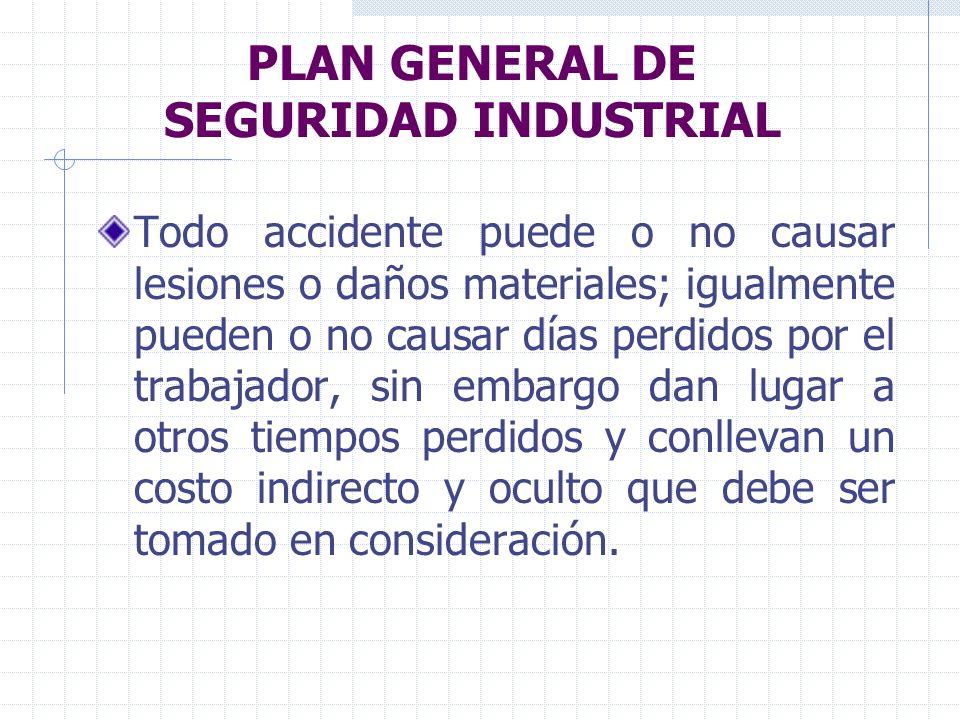 PLAN GENERAL DE SEGURIDAD INDUSTRIAL Todo accidente puede o no causar lesiones o daños materiales; igualmente pueden o no causar días perdidos por el