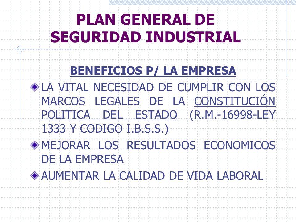 PLAN GENERAL DE SEGURIDAD INDUSTRIAL BENEFICIOS P/ LA EMPRESA LA VITAL NECESIDAD DE CUMPLIR CON LOS MARCOS LEGALES DE LA CONSTITUCIÓN POLITICA DEL EST