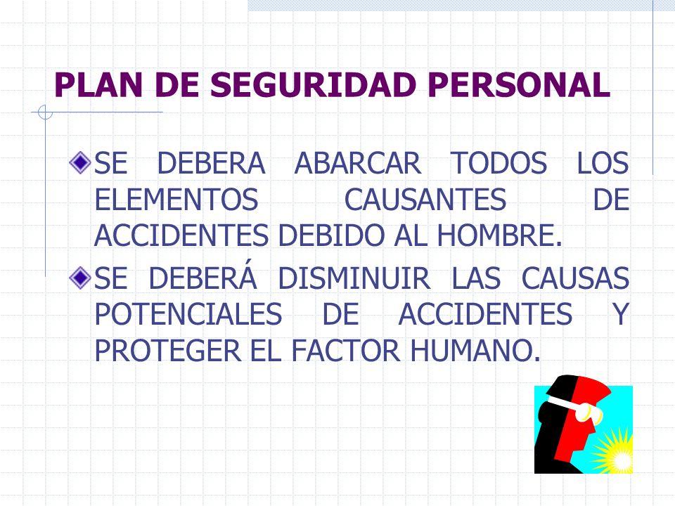 PLAN DE SEGURIDAD PERSONAL SE DEBERA ABARCAR TODOS LOS ELEMENTOS CAUSANTES DE ACCIDENTES DEBIDO AL HOMBRE. SE DEBERÁ DISMINUIR LAS CAUSAS POTENCIALES