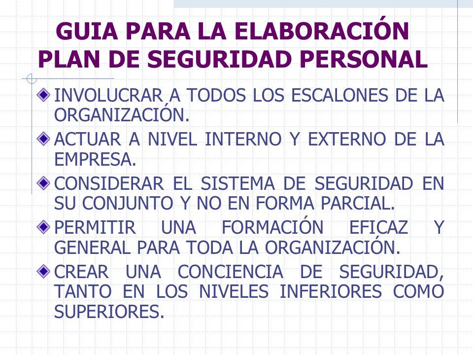 GUIA PARA LA ELABORACIÓN PLAN DE SEGURIDAD PERSONAL INVOLUCRAR A TODOS LOS ESCALONES DE LA ORGANIZACIÓN. ACTUAR A NIVEL INTERNO Y EXTERNO DE LA EMPRES