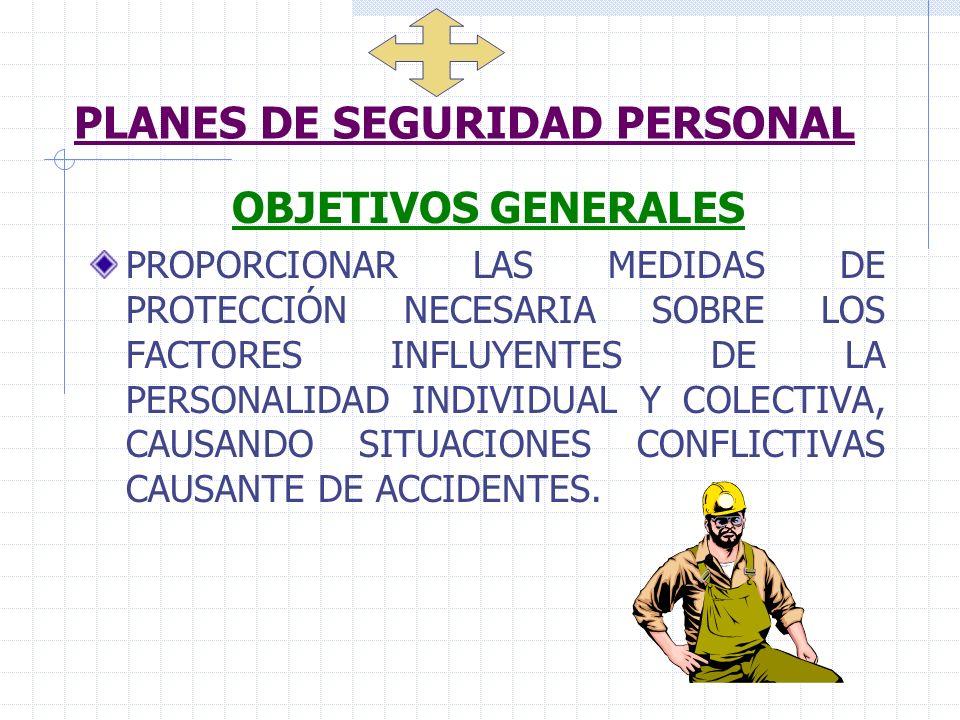 PLANES DE SEGURIDAD PERSONAL OBJETIVOS GENERALES PROPORCIONAR LAS MEDIDAS DE PROTECCIÓN NECESARIA SOBRE LOS FACTORES INFLUYENTES DE LA PERSONALIDAD IN