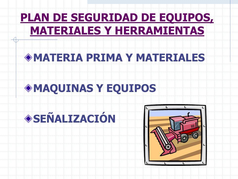 PLAN DE SEGURIDAD DE EQUIPOS, MATERIALES Y HERRAMIENTAS MATERIA PRIMA Y MATERIALES MAQUINAS Y EQUIPOS SEÑALIZACIÓN