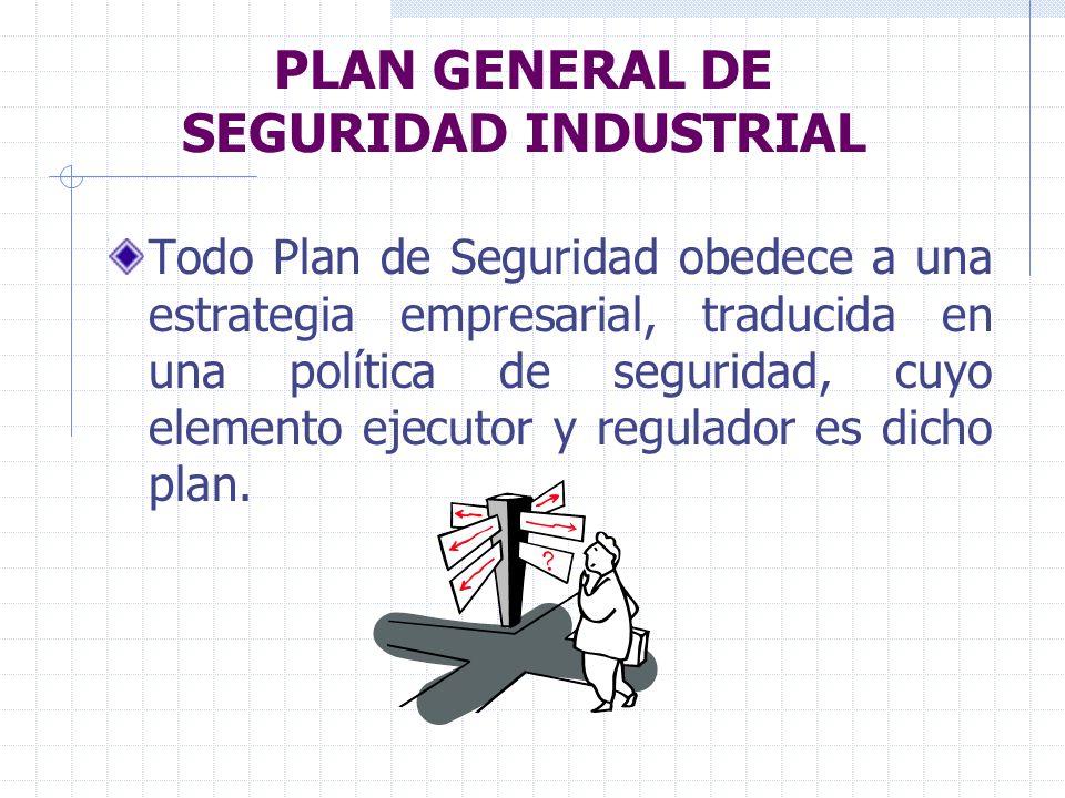 PLAN GENERAL DE SEGURIDAD INDUSTRIAL Todo Plan de Seguridad obedece a una estrategia empresarial, traducida en una política de seguridad, cuyo element
