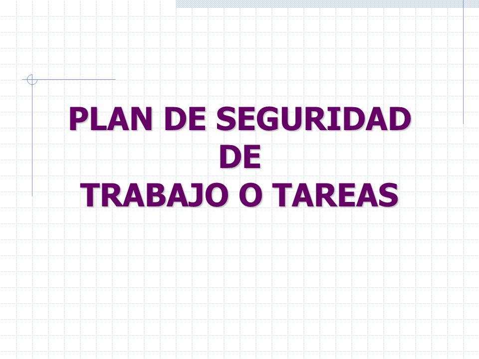 PLAN DE SEGURIDAD DE TRABAJO O TAREAS