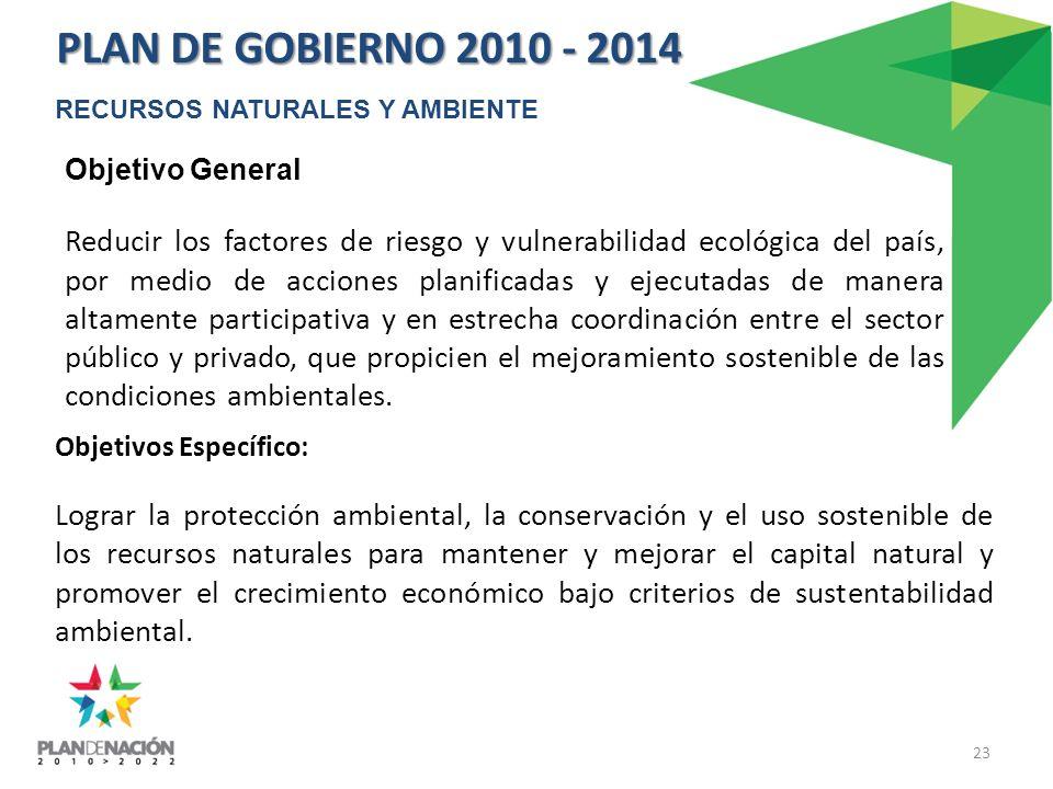 Objetivos Específico: Lograr la protección ambiental, la conservación y el uso sostenible de los recursos naturales para mantener y mejorar el capital natural y promover el crecimiento económico bajo criterios de sustentabilidad ambiental.