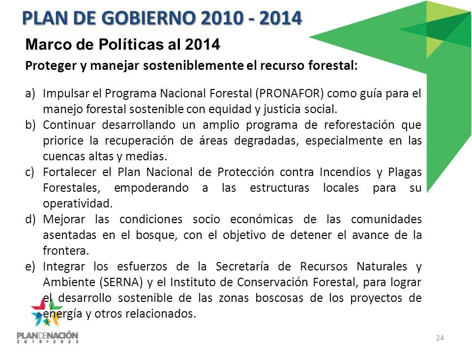 Proteger y manejar sosteniblemente el recurso forestal: a)Impulsar el Programa Nacional Forestal (PRONAFOR) como guía para el manejo forestal sostenible con equidad y justicia social.
