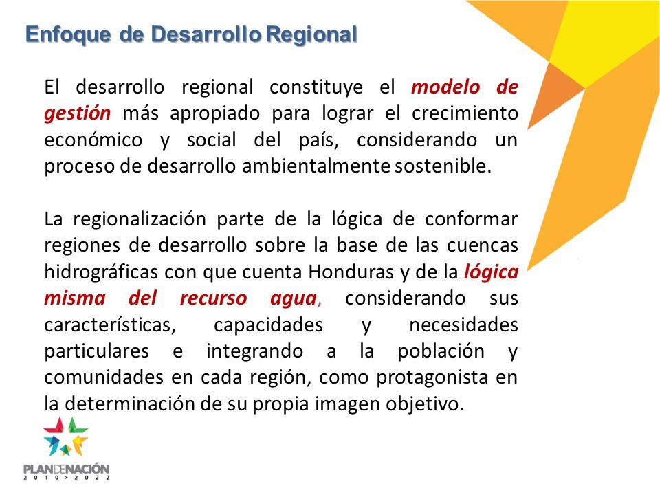 El desarrollo regional constituye el modelo de gestión más apropiado para lograr el crecimiento económico y social del país, considerando un proceso de desarrollo ambientalmente sostenible.