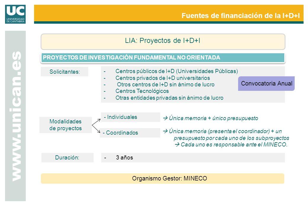www.unican.es Fuentes de financiación de la I+D+I LIA: Proyectos de I+D+I PROYECTOS DE INVESTIGACIÓN FUNDAMENTAL NO ORIENTADA Organismo Gestor: MINECO Modalidades de proyectos - Individuales - Coordinados Única memoria + único presupuesto Única memoria (presenta el coordinador) + un presupuesto por cada uno de los subproyectos Cada uno es responsable ante el MINECO.