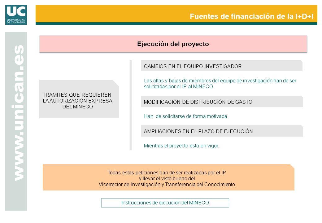 Fuentes de financiación de la I+D+I www.unican.es Ejecución del proyecto CAMBIOS EN EL EQUIPO INVESTIGADOR Las altas y bajas de miembros del equipo de investigación han de ser solicitadas por el IP al MINECO.