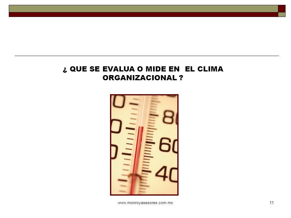 www.monroyasesores.com.mx11 ¿ QUE SE EVALUA O MIDE EN EL CLIMA ORGANIZACIONAL ?