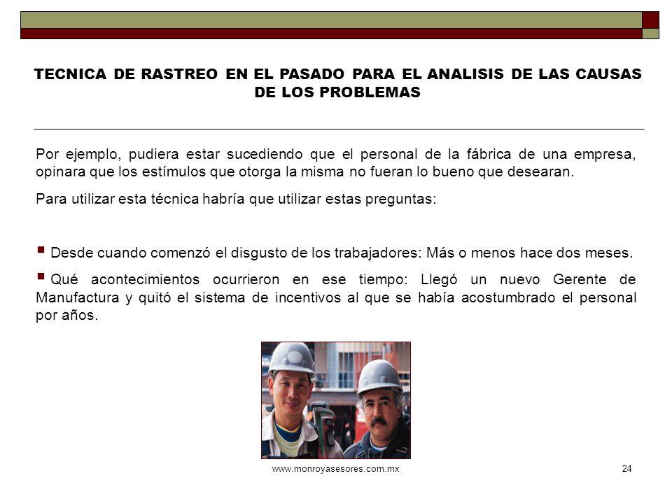 www.monroyasesores.com.mx24 TECNICA DE RASTREO EN EL PASADO PARA EL ANALISIS DE LAS CAUSAS DE LOS PROBLEMAS Por ejemplo, pudiera estar sucediendo que