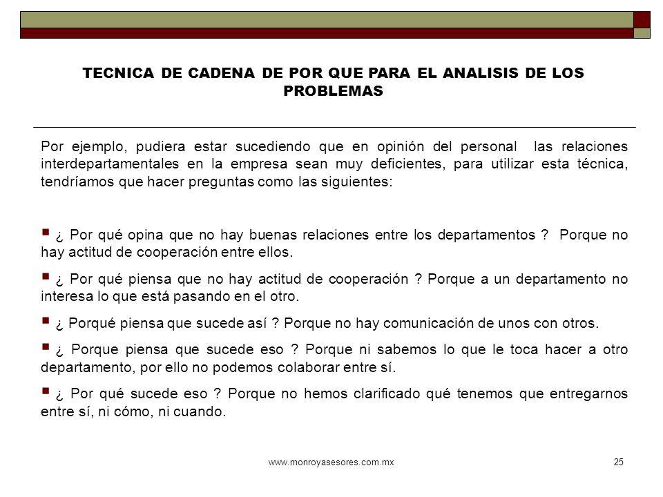 www.monroyasesores.com.mx25 TECNICA DE CADENA DE POR QUE PARA EL ANALISIS DE LOS PROBLEMAS Por ejemplo, pudiera estar sucediendo que en opinión del pe