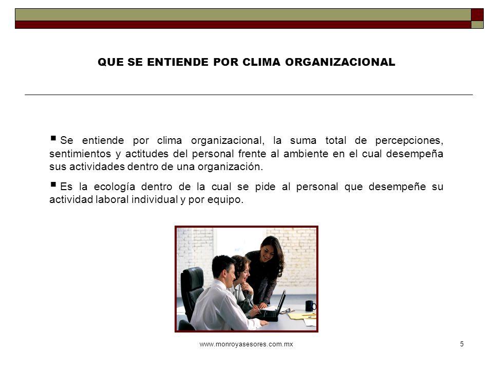 www.monroyasesores.com.mx5 QUE SE ENTIENDE POR CLIMA ORGANIZACIONAL Se entiende por clima organizacional, la suma total de percepciones, sentimientos