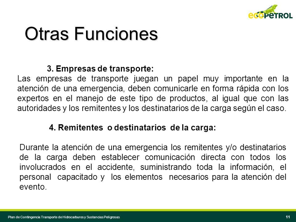 10 Plan de Contingencia Transporte de Hidrocarburos y Sustancias Peligrosas 1.Conductores de vehículos: Los conductores se constituyen en las primeras