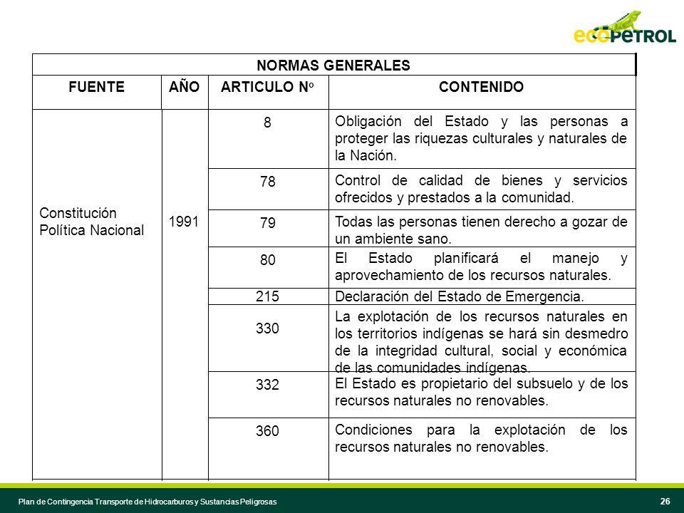 25 Componente de emergencias en planes de desarrollo regional y local. 1991 Directiva Presidencial 33 Reglamentación del almacenamiento, manejo, trans