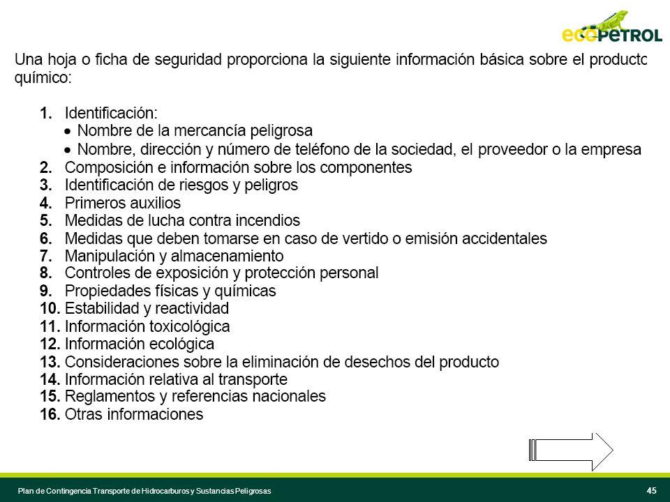 44 Plan de Contingencia Transporte de Hidrocarburos y Sustancias Peligrosas 44