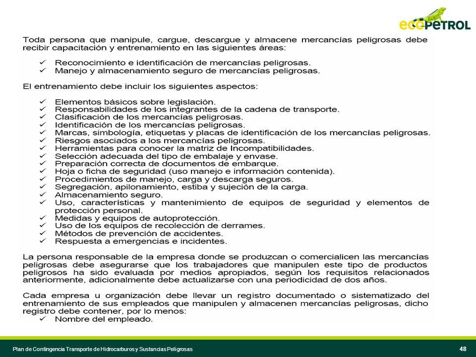 47 Plan de Contingencia Transporte de Hidrocarburos y Sustancias Peligrosas 47