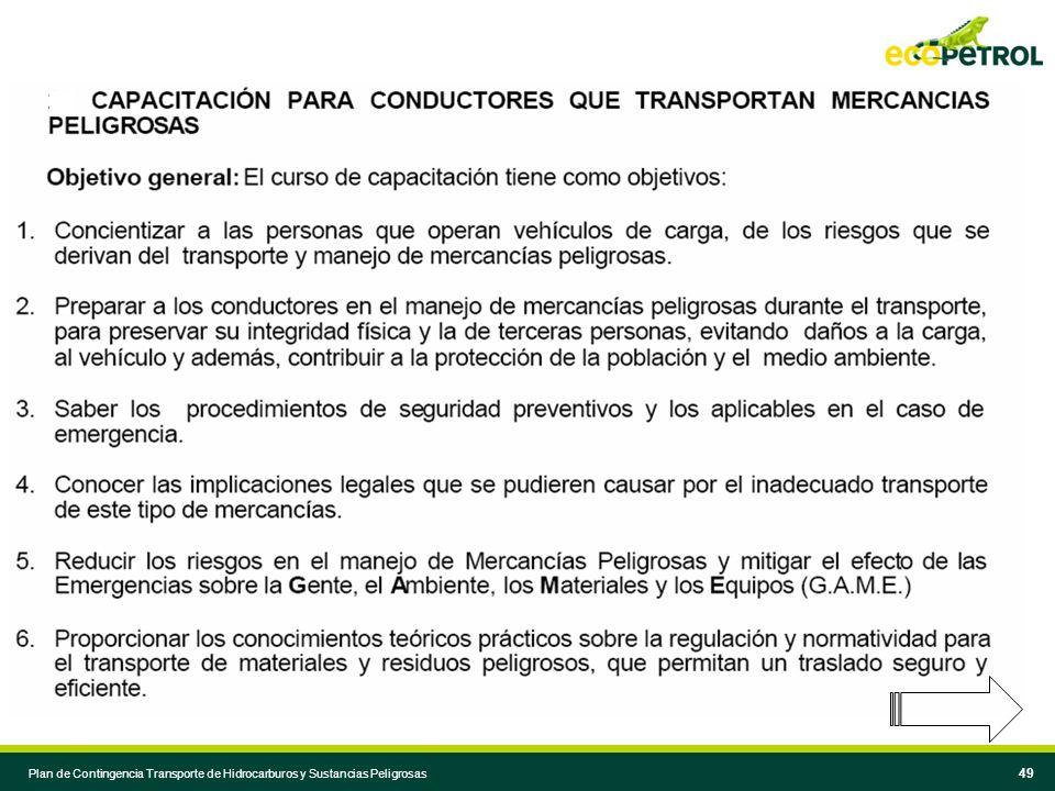 48 Plan de Contingencia Transporte de Hidrocarburos y Sustancias Peligrosas 48