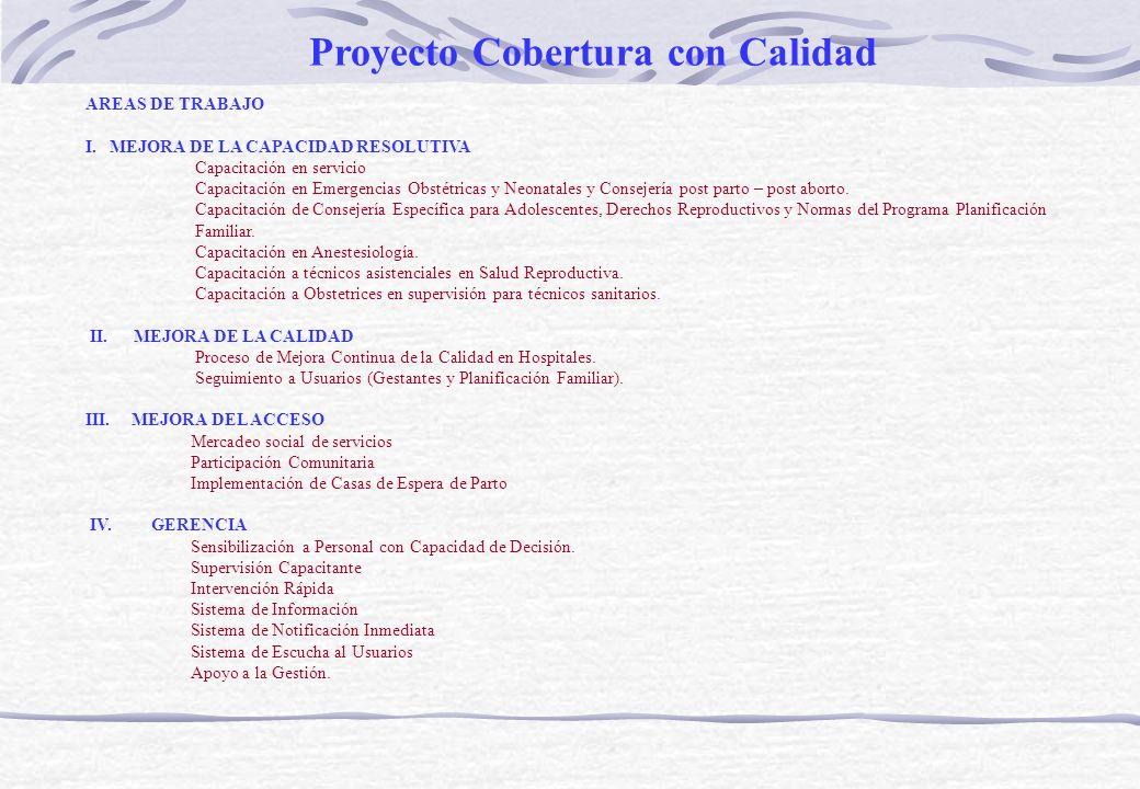 LUGARES DE INTERVENCIÓN: Amazonas Jaén Bagua Chota Cutervo Piura II – Sullana Lambayeque Arequipa Apurimac I – Abancay Madre de Dios Proyecto Cobertura con Calidad
