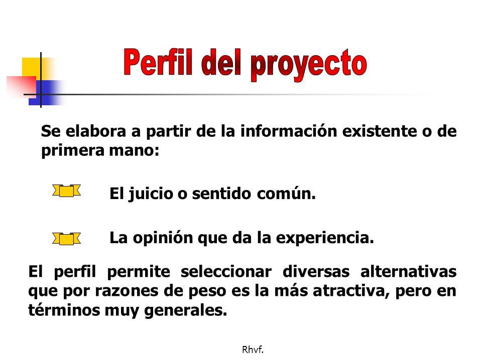Rhvf. Consta de: Perfil Estudio de prefactibilidad (Anteproyecto) Estudio de factibiliad (Proyecto)