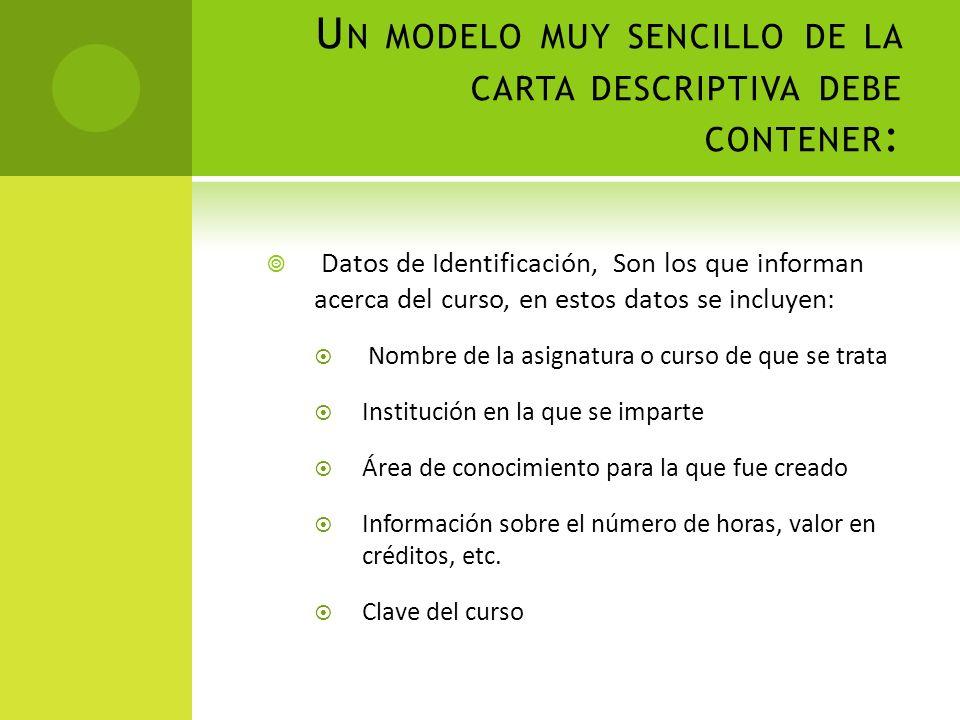 U N MODELO MUY SENCILLO DE LA CARTA DESCRIPTIVA DEBE CONTENER : Datos de Identificación, Son los que informan acerca del curso, en estos datos se incl