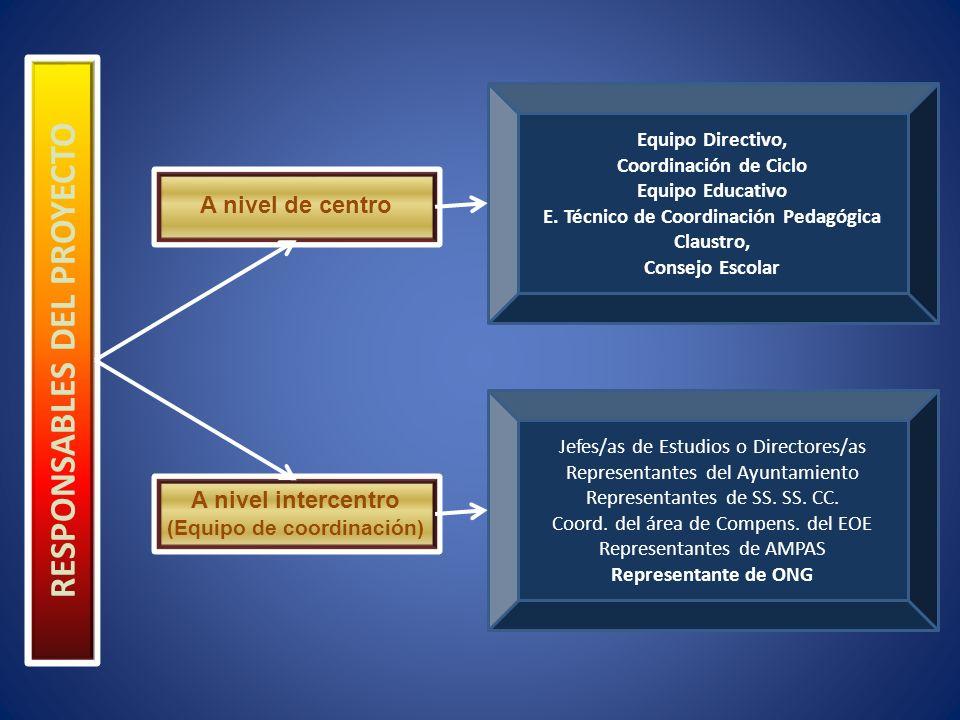 RESPONSABLES DEL PROYECTO A nivel de centro A nivel intercentro (Equipo de coordinación) Equipo Directivo, Coordinación de Ciclo Equipo Educativo E.